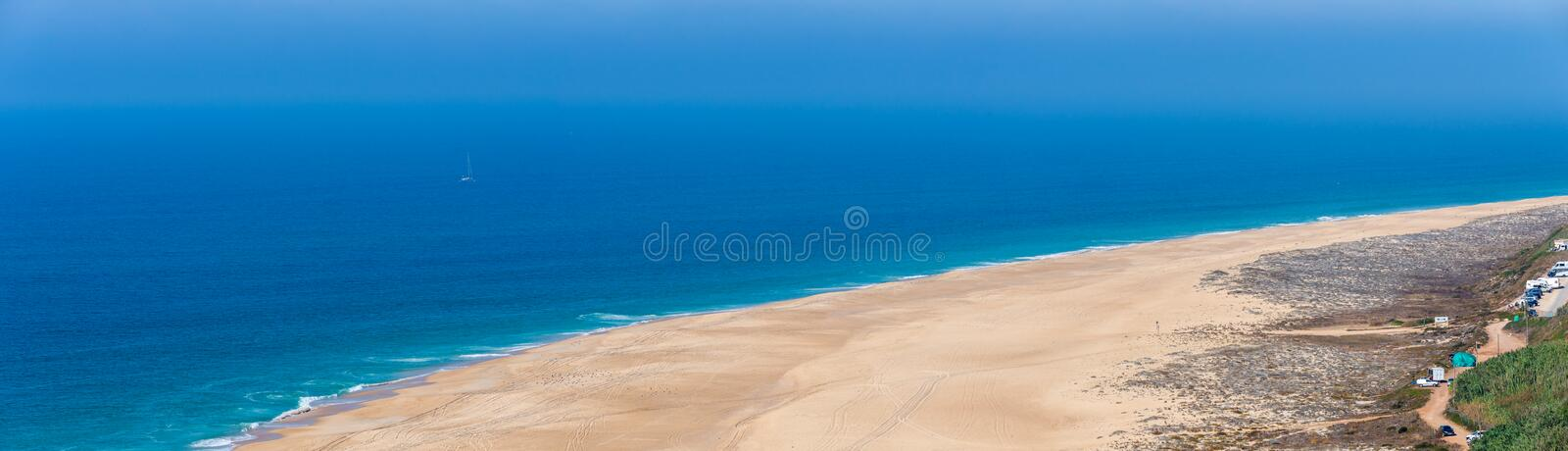 Scenic view of surf beach and ocean near Nazare Portugal stock photo