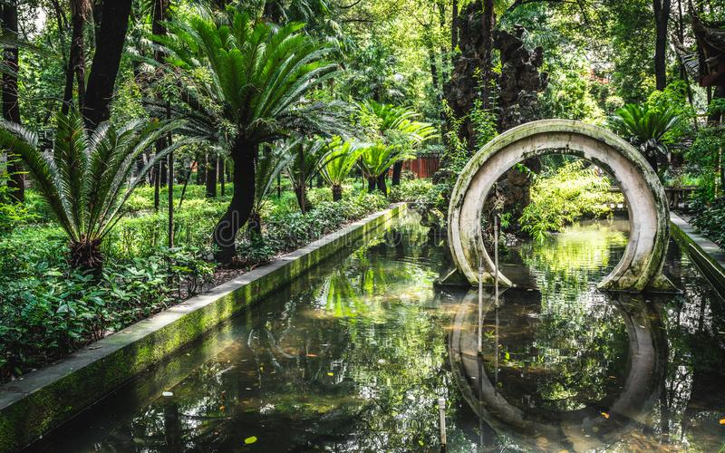 Scenic view of a traditional Chinese garden with water pound at the garden of the Wenshu Monastery in Chengdu China royalty free stock photos