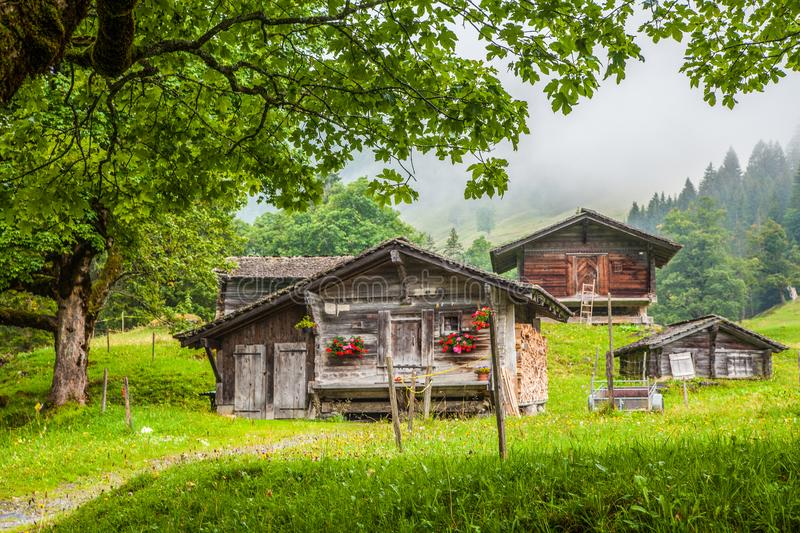 Traditional mountain chalets in the Alps stock photos