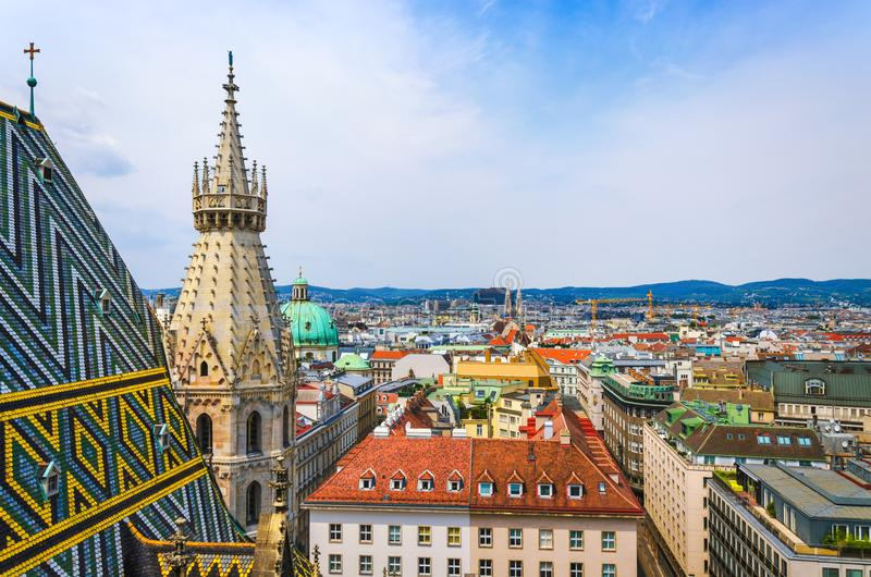 Scenic view of Vienna old town. From St. Stephen`s Cathedral royalty free stock image