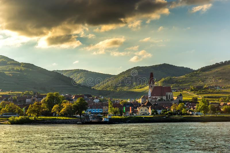 Scenic View into the Wachau with the river Danube and town Weissenkirchen in Lower Austria royalty free stock photo
