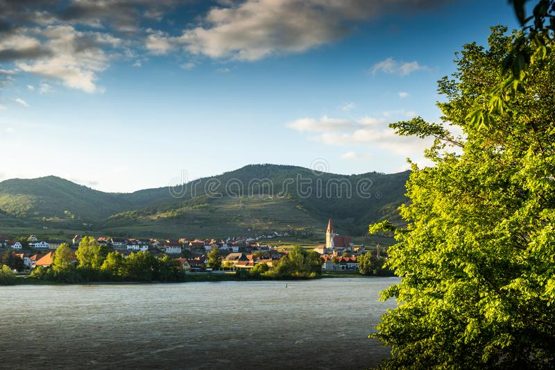 Scenic View into the Wachau with the river Danube and town Weissenkirchen in Lower Austria stock photo