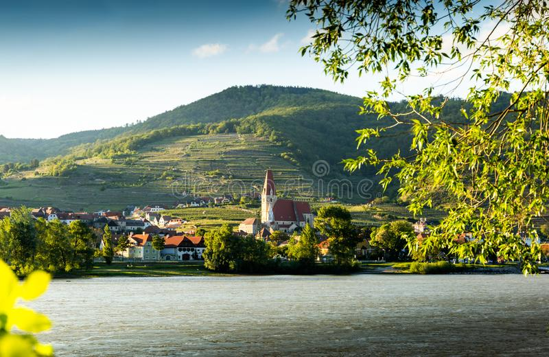 Scenic View into the Wachau with the river Danube and town Weissenkirchen in Lower Austria royalty free stock images