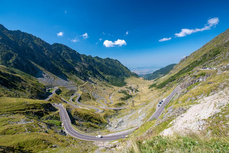 Scenic view of the Transfagaras mountain road in the Transylvanian Alps, Carpathian Mountains, Romania royalty free stock photos