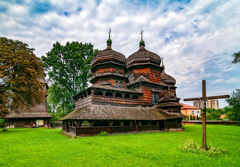 Scenic view of Greek Catholic wooden church of St. George's Church, UNESCO, Drohobych, Ukraine. Scenic view of wooden St. George's Church, Drohobych, Ukraine stock images