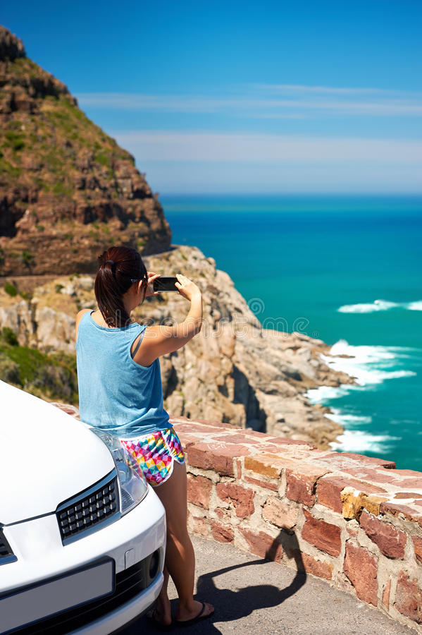 Scenic viewpoint woman royalty free stock images