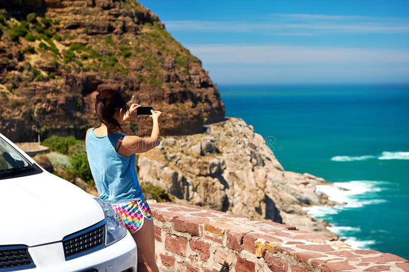 Scenic viewpoint woman stock photo