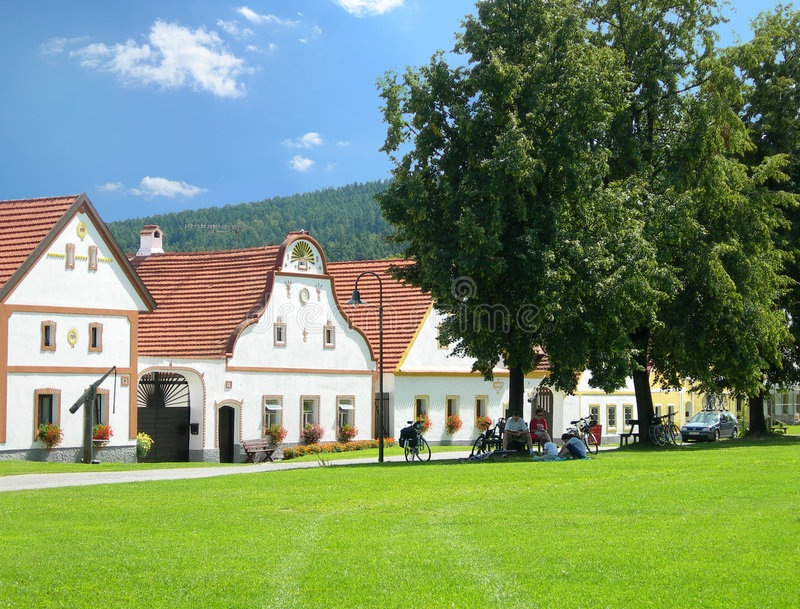 Scenic village Holasovice, South Bohemia, Czech Republic. Old country houses from the village Holasovice, South Bohemia, Czech Republic - 18-th century royalty free stock photography