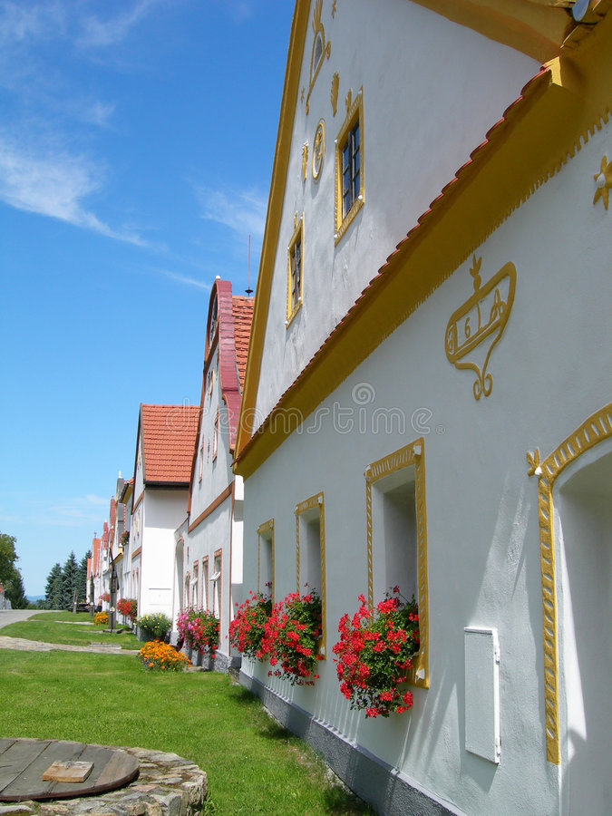 Scenic village Holasovice, South Bohemia, Czech Republic. Old country houses from the village Holasovice, South Bohemia, Czech Republic - 18-th century royalty free stock photo