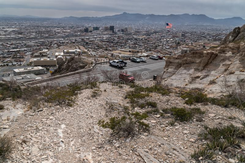 A scenic vista of El Paso Texas from the Franklin Mountains. El Paso Texas as seen from the Franklin Mountain scenic drive el-paso usa arid climb desert hiking stock image