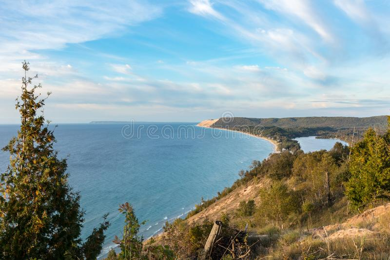Scenic Vista at Sleeping Bear Dunes National Lakeshore in Northern Michigan. Scenic overlook on the Empire Bluffs Trail overlooks Lake Michigan, Sleeping Bear stock images