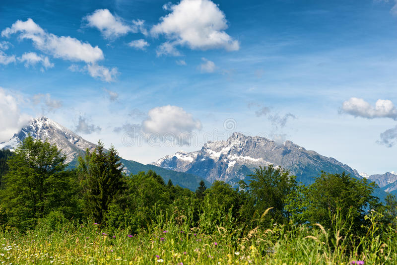 Scenic vista of snow-capped mountain peaks royalty free stock photography