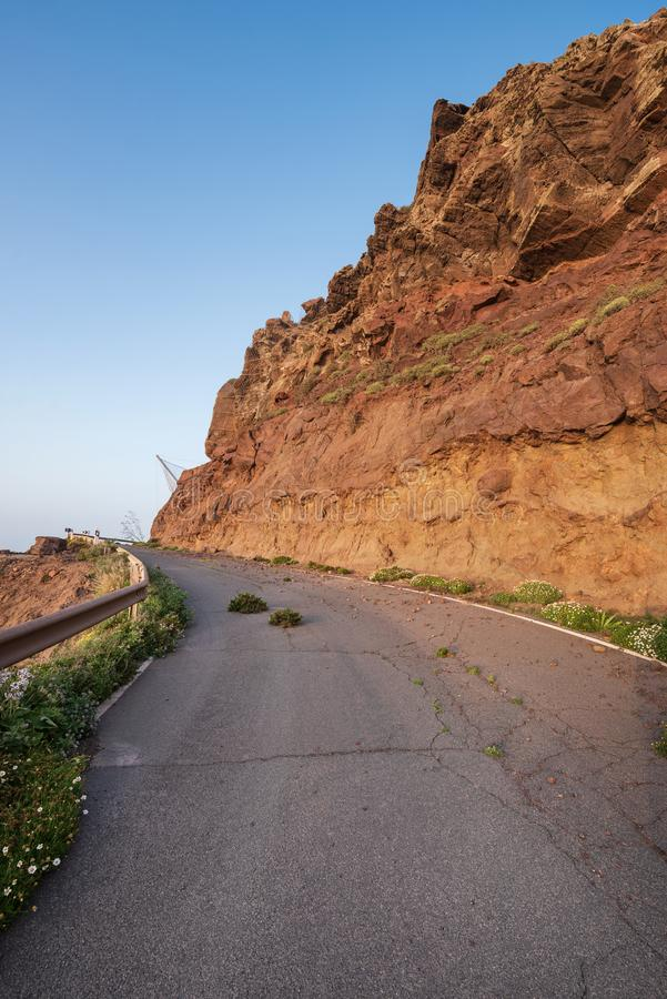 Scenic volcanic coastline landscape, Cliffs in Tamadaba natural park, Grand Canary island, Spain. royalty free stock image