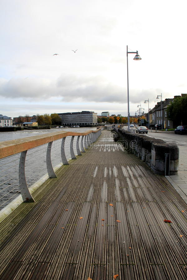 Scenic walk along the Shannon River,Clancy Strand and O'Callaghan Strand city walk,Limerick,Ireland,2014 stock photography