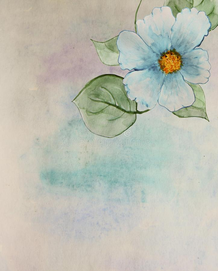 Scenic watercolor background with a blue flower and leaves. vector illustration