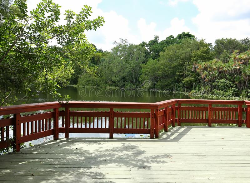 Scenic view overlooking wetlands. Scenic wetlands walkway at Flamingo Gardens in Davie, Florida, United States of America royalty free stock photo