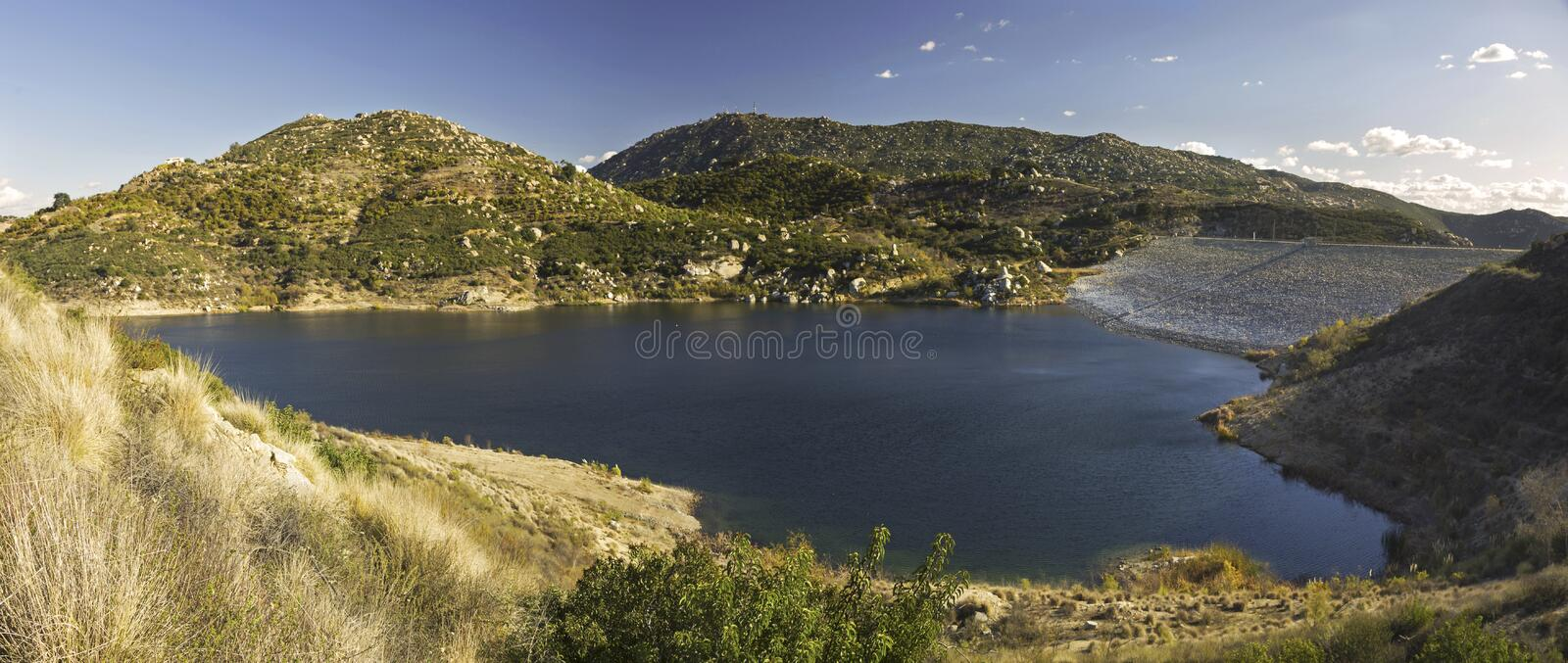 Lake Ramona Panorama Blue Sky Preserve Poway San Diego County Inland. Scenic Wide Panoramic Landscape of Lake Ramona Reservoir and Distant Mountains in Blue Sky royalty free stock photos