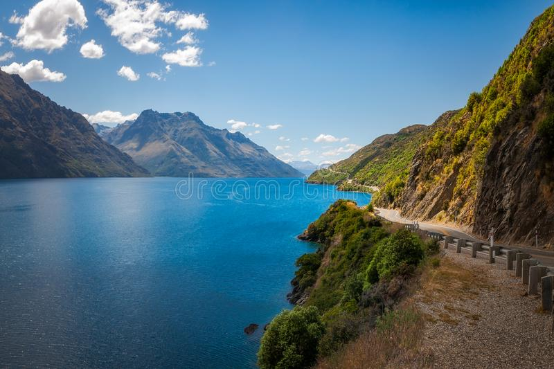 Download Scenic Winding Road At Lake Wakatipu, New Zealand Stock Image - Image of golden, island: 108886165