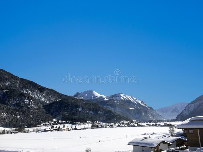 Scenic winter snow landscape in Tirol, Aschenkirch stock images