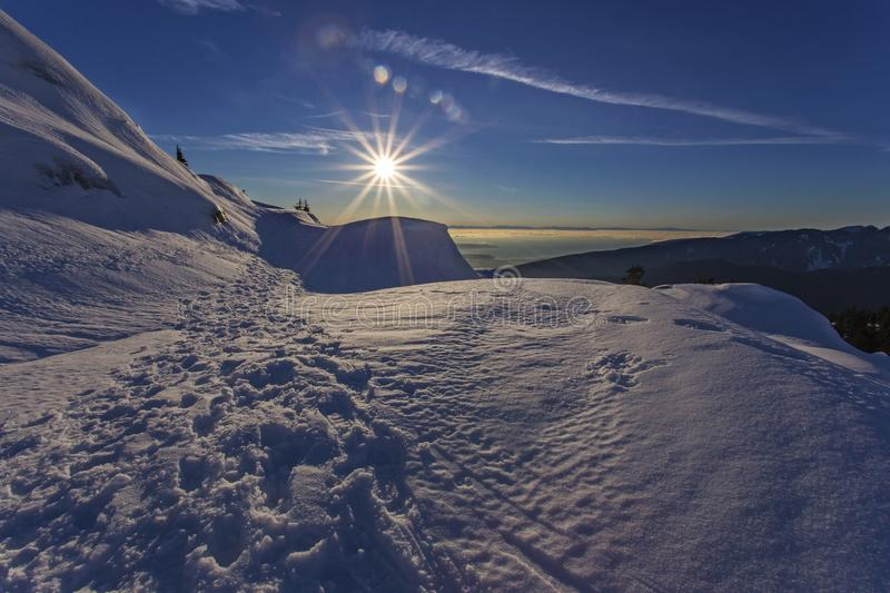 Scenic Winter Sunset Landscape on Snowy Mountain Seymor above Vancouver BC Canada stock photography