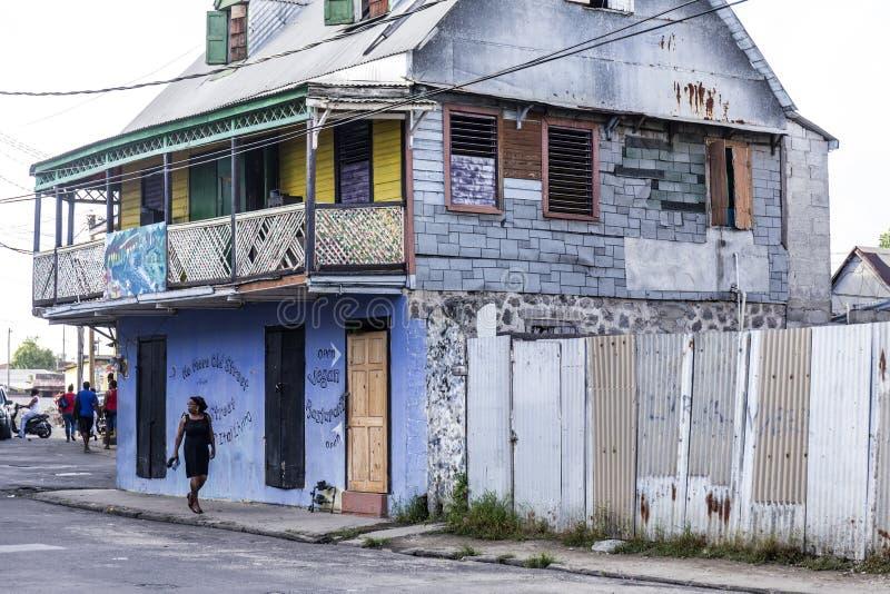 Scenic wooden hut in the quarter Carib Territory in Roseau stock images
