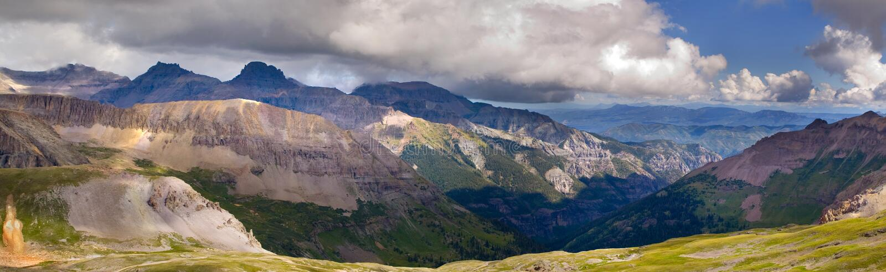 Scenico panoramico superiore di Imogene Pass Ouray Colorado Mountain fotografie stock libere da diritti