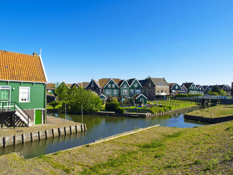 Scenics Cottages in Marken, Netherlands stock image