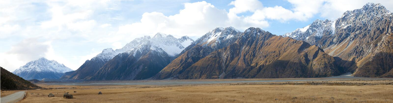 Scenics do cozinheiro de Aoraki Mt dos vales de Tasman da montagem foto de stock royalty free