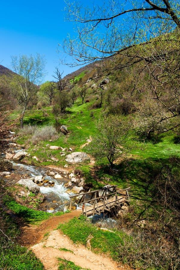 Sceniczna mała rzeka i naturalny krajobraz w wiośnie obraz stock