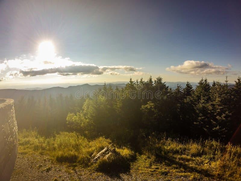Sceniczni widoki przy zmierzchem na górze góry Mitchell zdjęcia royalty free