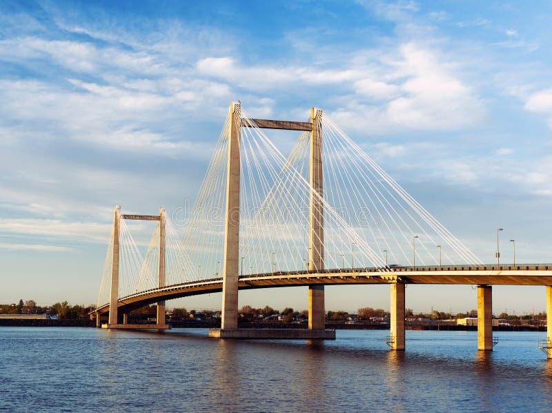 Sceniczny Kablowy most w Waszyngton. fotografia stock