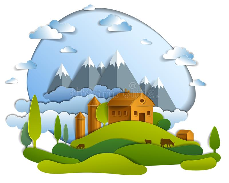 Sceniczny krajobraz rolni budynki wśród drzew, pasma górskiego i chmur w niebie łąk, wektorowa ilustracja lato czas ilustracji