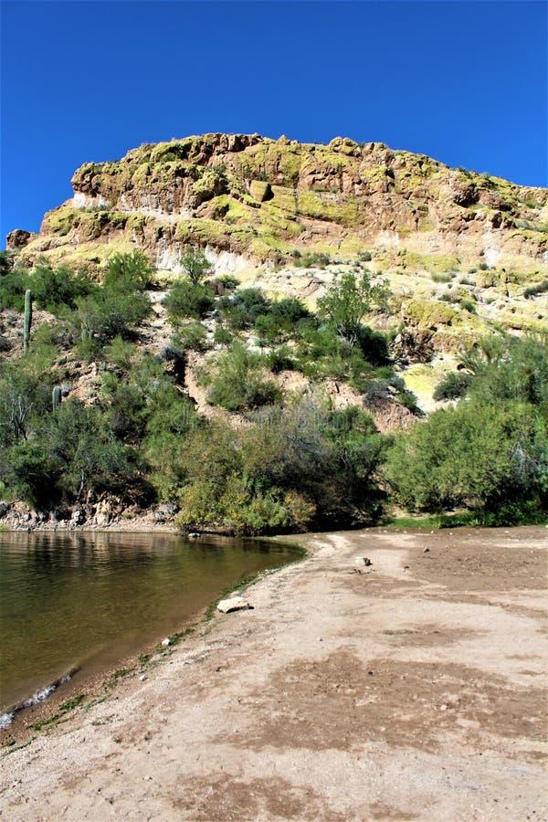 Sceniczny Krajobrazowy widok od mes, Arizona fontann wzgórza, Maricopa okręg administracyjny, Arizona, Stany Zjednoczone fotografia stock