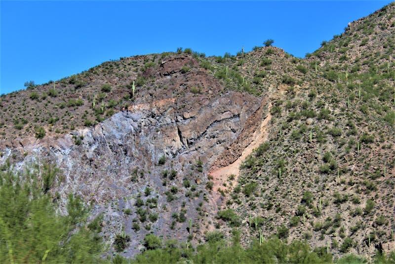 Sceniczny Krajobrazowy widok od mes, Arizona fontann wzgórza, Maricopa okręg administracyjny, Arizona, Stany Zjednoczone obrazy stock