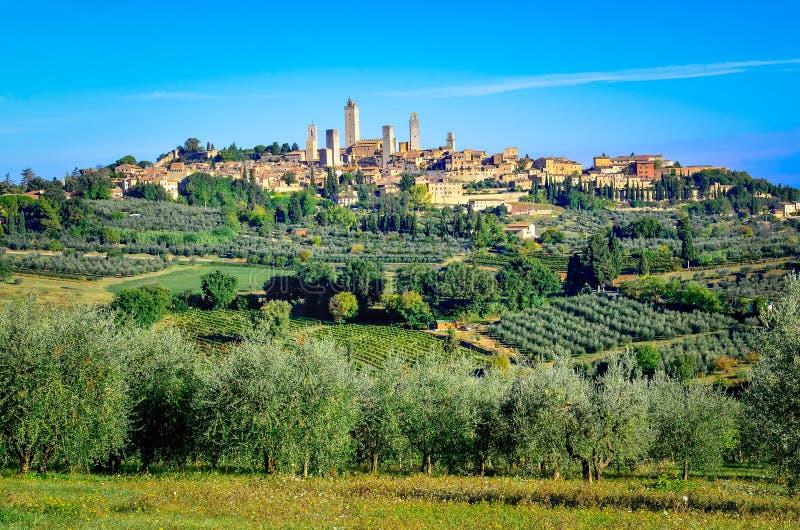 Sceniczny krajobrazowy widok San Gimignano, Włochy obrazy stock