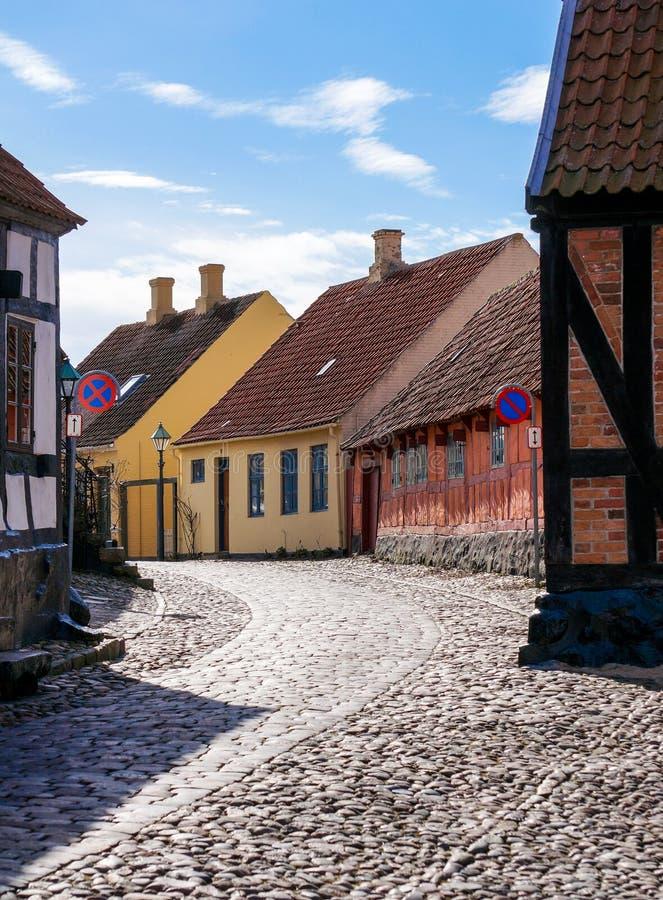 Sceniczny lato widok kolorów budynki, Grenaa, Dani zdjęcie royalty free