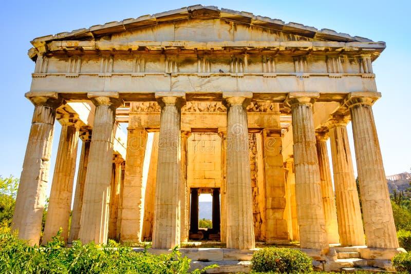 Sceniczny widok świątynia Hephaestus w Antycznej agorze, Ateny obraz stock