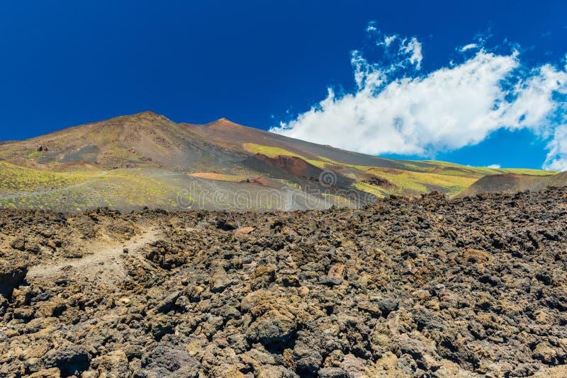 Sceniczny widok g?ra Etna z niebieskim niebem na tle Kwitn?cy lawowi wzg?rza i pole z powulkanicznymi kamieniami Sycylia w?ochy fotografia stock