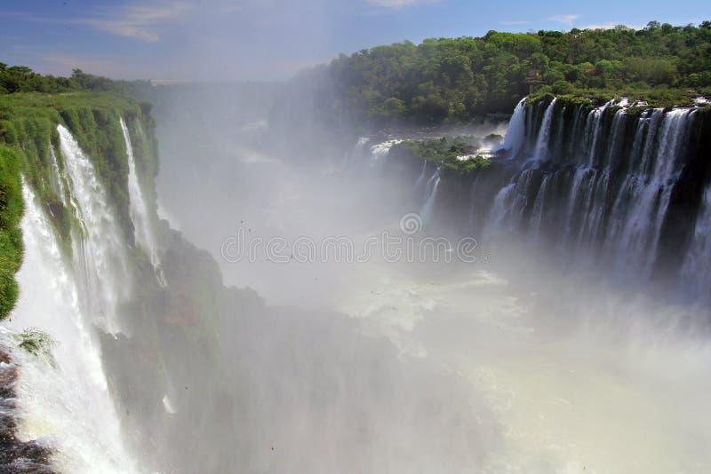 Sceniczny widok iguazu spadki w Argentyna, Brazylia i krajobrazie/ fotografia stock