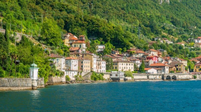 Sceniczny widok na drodze od Fiumelatte Varenna, Jeziorny Como italy Lombardy fotografia stock