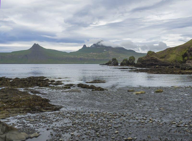 Sceniczny widok na pięknych Hornbjarg falezach w zachodnich fjords, daleki rezerwat przyrody Hornstrandir w Iceland, skalisty oto zdjęcia stock