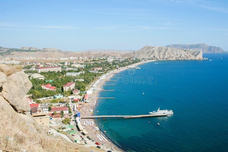 Sceniczny widok od gór denny i Krymski miasto zdjęcie stock