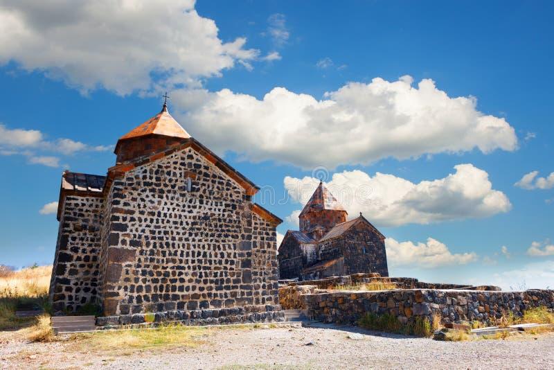 Sceniczny widok stary Sevanavank kościół w Sevan, Armenia zdjęcie stock