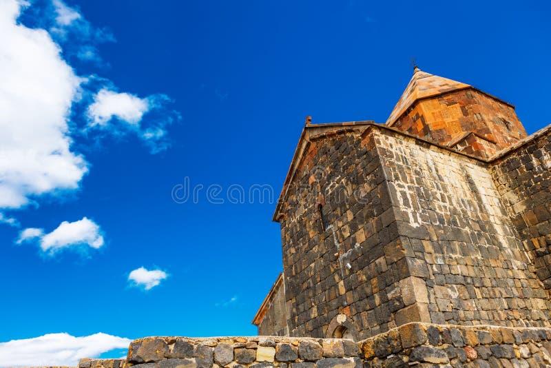 Sceniczny widok stary Sevanavank kościół w Sevan, Armenia obraz royalty free