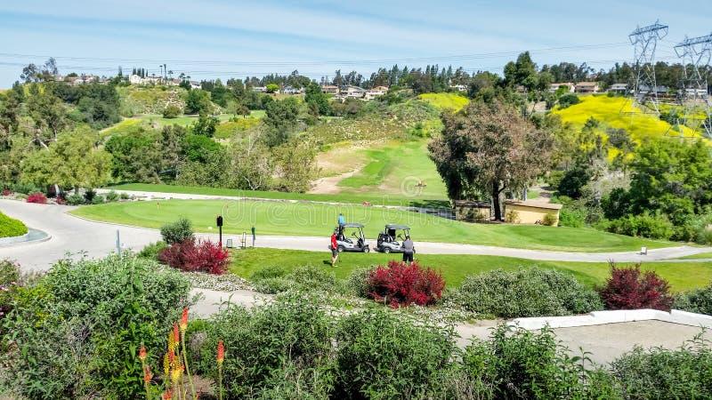 Scenisk golfbana fotografering för bildbyråer