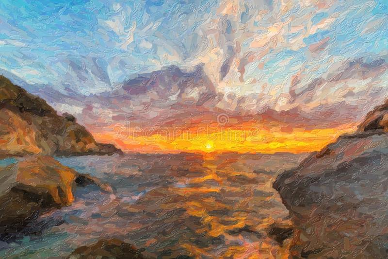 Scenisk kust- solnedgång på ön av Elba i Tuscany royaltyfri illustrationer