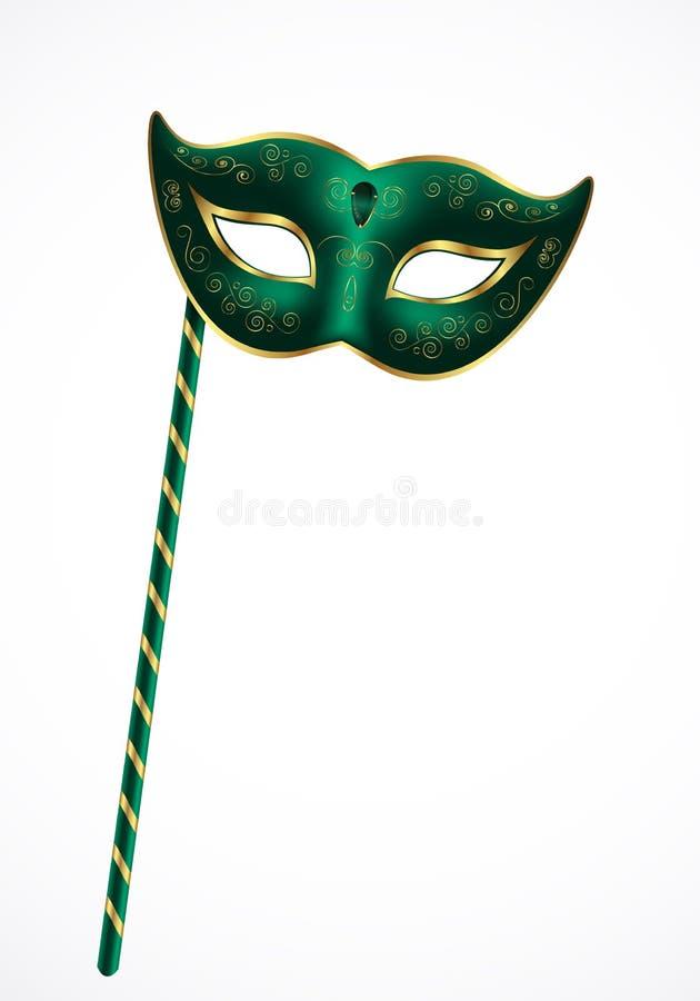 Scenisk maskering för grön karneval med den guld- prydnaden med handtaget royaltyfri illustrationer