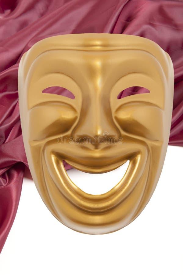 Scenisk maskering för guld- komedi royaltyfria bilder