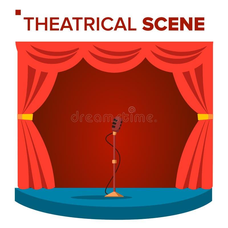Scenisk platsvektor Performane Etapppodium hänger upp gardiner röd sammet Händelseshow Isolerad plan tecknad filmillustration stock illustrationer