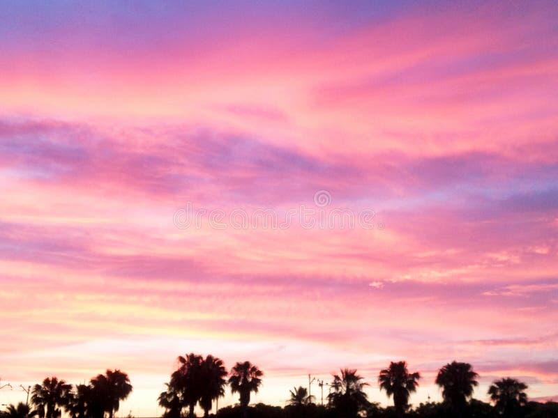Scenisk sikt av den härliga solnedgången i aftontiden över havet royaltyfri fotografi